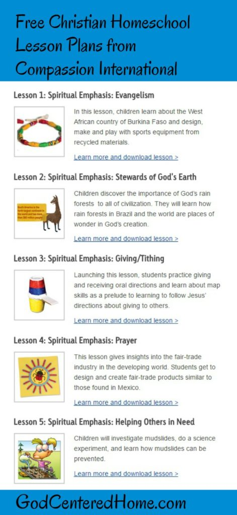 Free Christian Homeschool Lesson Plans from Compassion